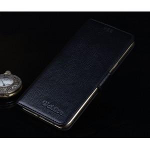 Кожаный чехол портмоне подставка (нат. кожа) для Lenovo Phab Plus Черный