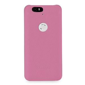 Кожаный чехол накладка (нат. кожа) для Google Huawei Nexus 6P Розовый