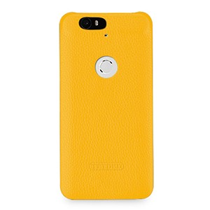 Кожаный чехол накладка (нат. кожа) для Google Huawei Nexus 6P Желтый