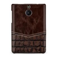 Эксклюзивный кожаный чехол накладка (2 вида нат. кожи) ручной работы для BlackBerry Passport Silver Edition