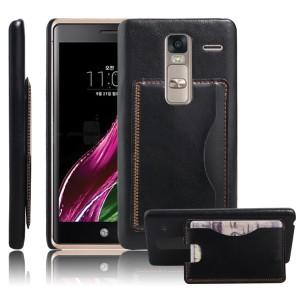 Дизайнерский чехол накладка с отделениями для карт и подставкой для LG Class Черный
