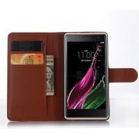 Чехол портмоне подставка с магнитной застежкой для LG Class Коричневый