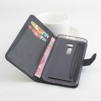 Чехол портмоне подставка на силиконовой основе с защелкой для Asus Zenfone 2 5 Черный