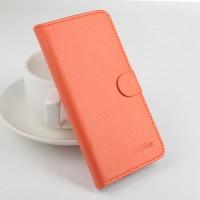 Чехол портмоне подставка на силиконовой основе с защелкой для Asus Zenfone 2 5 Оранжевый