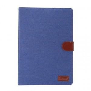 Чехол подставка с внутренними отсеками, магнитной защелкой и тканевым покрытием Джинса для Ipad Pro Синий