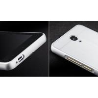 Двухкомпонентный чехол с металлическим бампером и поликарбонатной накладкой текстура Металл для Xiaomi RedMi Note 2 Белый