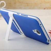 Двухкомпонентный силиконовый чехол с пластиковым бампером-подставкой для Xiaomi RedMi Note 2 Синий