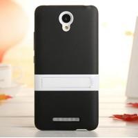 Двухкомпонентный силиконовый чехол с пластиковым бампером-подставкой для Xiaomi RedMi Note 2 Черный