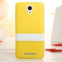 Двухкомпонентный силиконовый чехол с пластиковым бампером-подставкой для Xiaomi RedMi Note 2 Желтый