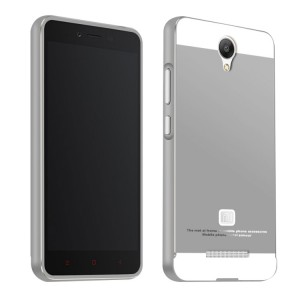 Двухкомпонентный чехол с металлическим бампером и поликарбонатной накладкой для Xiaomi RedMi Note 2 Серый