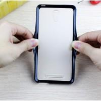 Двухкомпонентный чехол с силиконовым бампером и матовой полупрозрачной пластиковой накладкой для Xiaomi RedMi Note 2 Черный