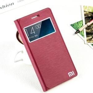 Чехол флип подставка на пластиковой основе с окном вызова на присоске для Xiaomi RedMi Note 2 Красный