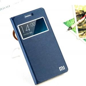 Чехол флип подставка на пластиковой основе с окном вызова на присоске для Xiaomi RedMi Note 2 Синий