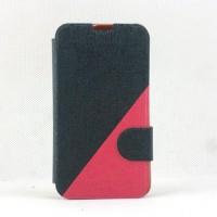 Двухцветный чехол флип подставка на пластиковой основе с отделением для карты и магнитной защелкой для LG L70 Черный
