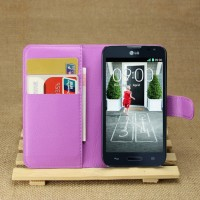 Чехол портмоне подставка с защелкой для LG L70 Фиолетовый