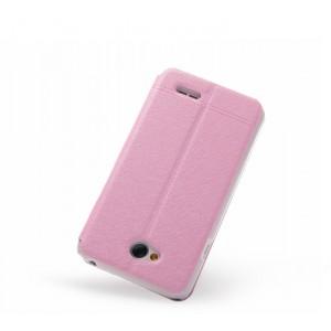 Чехол флип подставка на пластиковой основе с окном вызова для LG L70 Розовый
