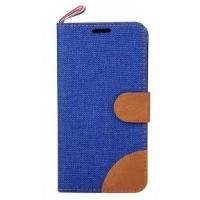 Чехол флип подставка на силиконовой основе с тканевым покрытием, магнитной застежкой и отделением для карт для Samsung Galaxy Core Prime Синий
