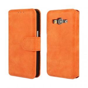 Винтажный чехол портмоне подставка на пластиковой основе с защелкой для Samsung Galaxy Core Prime Оранжевый