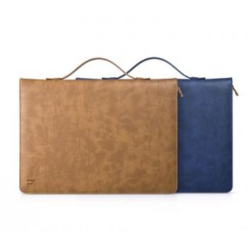 Эксклюзивный двухкомпонентный кожаный чехол-органайзер (нат. кожа) на молнии, с ручкой для переноски, отделением для клавиатуры, карт и стилуса, и внутренним кожаным чехлом подставкой-вкладышем на поликарбонатной основе для Ipad Pro