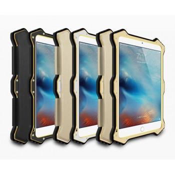 Эксклюзивный антиударный пылевлагозащищенный гибридный премиум чехол силикон/металл/закаленное стекло с кожаной съемной сегментарной накладкой для Ipad Pro