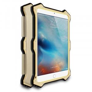 Эксклюзивный антиударный пылевлагозащищенный гибридный премиум чехол силикон/металл/закаленное стекло с кожаной съемной сегментарной накладкой для Ipad Pro Бежевый