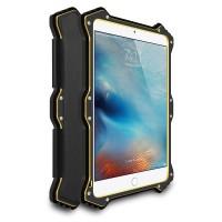 Эксклюзивный антиударный пылевлагозащищенный гибридный премиум чехол силикон/металл/закаленное стекло с кожаной съемной сегментарной накладкой для Ipad Pro Черный