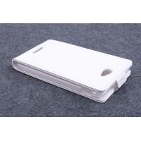 Чехол вертикальная книжка на пластиковой основе с магнитной застежкой для Sony Xperia E4 Белый