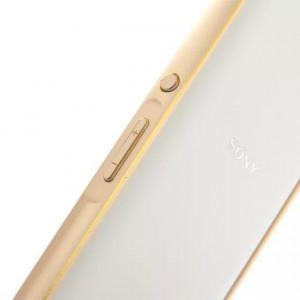 Металлический двухцветный бампер с золотой окантовкой для Sony Xperia E4