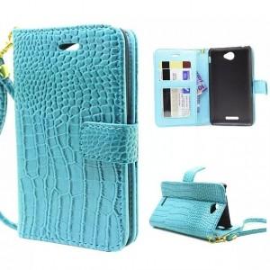Чехол портмоне подставка с защелкой серия Croco Pattern для Sony Xperia E4 Голубой