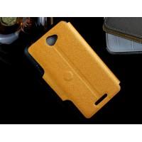 Дизайнерский чехол флип подставка на силиконовой основе с дизайнерской магнитной застёжкой для Sony Xperia E4 Желтый