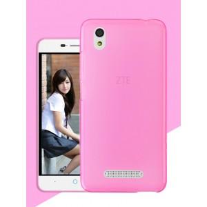 Силиконовый матовый полупрозрачный чехол для ZTE Blade X3 Розовый
