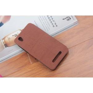 Чехол флип подставка на силиконовой основе с отделением для карт текстура Дерево для ZTE Blade X3 Коричневый