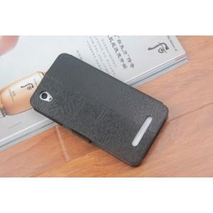 Чехол флип подставка на силиконовой основе с отделением для карт текстура Дерево для ZTE Blade X3 Черный