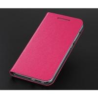 Текстурный чехол флип подставка на пластиковой основе с отделением для карт для HTC One A9 Пурпурный