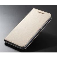 Текстурный чехол флип подставка на пластиковой основе с отделением для карт для HTC One A9 Бежевый