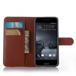 Чехол портмоне подставка на пластиковой основе с защелкой для HTC One A9 Коричневый