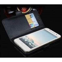 Кожаный чехол портмоне (нат. кожа) подставка для HTC One A9 Черный