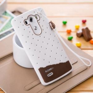 Силиконовый дизайнерский фигурный чехол с шнурком для LG G3 (Dual-LTE)