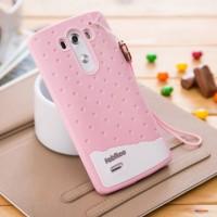 Силиконовый дизайнерский фигурный чехол с шнурком для LG G3 (Dual-LTE) Розовый