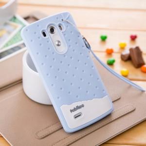 Силиконовый дизайнерский фигурный чехол с шнурком для LG G3 (Dual-LTE) Голубой