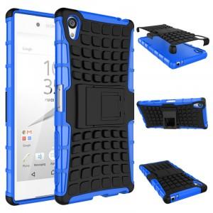 Антиударный гибридный чехол экстрим защита силикон/поликарбонат с ножкой-подставкой для Sony Xperia Z5 Premium Синий
