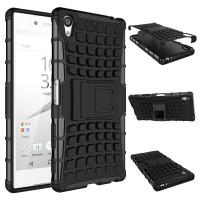Антиударный гибридный чехол экстрим защита силикон/поликарбонат с ножкой-подставкой для Sony Xperia Z5 Premium Черный