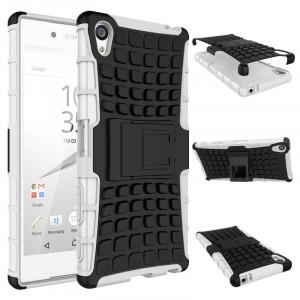 Антиударный гибридный чехол экстрим защита силикон/поликарбонат с ножкой-подставкой для Sony Xperia Z5 Premium Белый