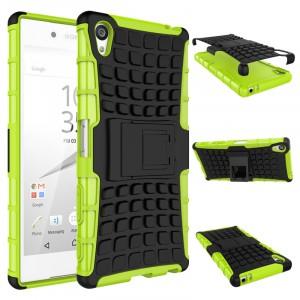 Антиударный гибридный чехол экстрим защита силикон/поликарбонат с ножкой-подставкой для Sony Xperia Z5 Premium Зеленый