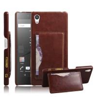 Дизайнерский чехол накладка с подставкой и отделениями для карт для Sony Xperia Z5 Premium Коричневый