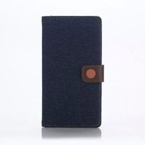 Чехол портмоне подставка текстура Джинс на пластиковой основе с магнитной защелкой для Sony Xperia Z5 Premium