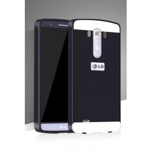Двухкомпонентный чехол с металлическим бампером и поликарбонатной накладкой для LG G3 (Dual-LTE) Черный