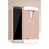 Двухкомпонентный чехол с металлическим бампером и поликарбонатной накладкой для LG G3 (Dual-LTE) Бежевый