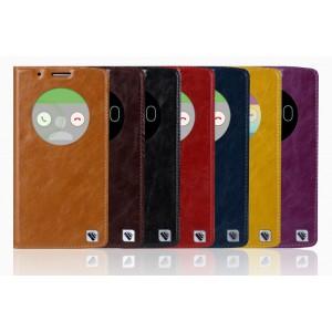 Кожаный глянцевый чехол флип подставка с круглым окном вызова на пластиковой основе для LG G3 (Dual-LTE)