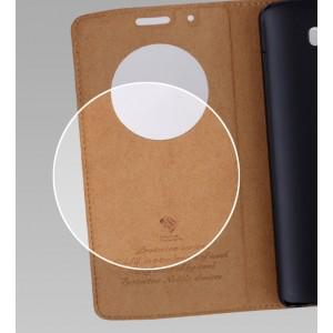 Кожаный глянцевый чехол флип подставка с круглым окном вызова на пластиковой основе для LG G3 (Dual-LTE) Бежевый